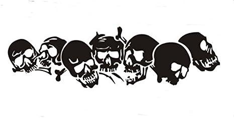 Beschriftungsspezi De Schädel Totenköpfe Aufkleber Für Die Fahrzeugseite 1 40m X 25 Cm Als Paar Für Die Rechte Und Die Linke Seite Schwarz Auto