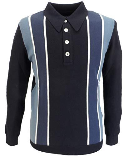 Photo of Ska & Soul Mens Retro Stripe Front Polo Shirts (Medium, Navy Blue)
