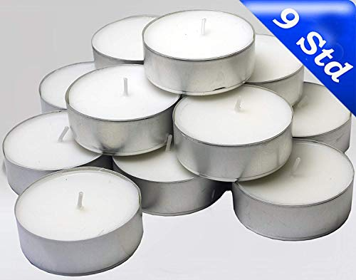 Hillfield® 96 Maxi Teelichter 9 Std. Brenndauer i. Alubecher, Maxilicht, Jumbo Teelichter, ohne Duft, Kerzen, Teelicht, Aluminiumhülle, Gastronomie Qualität, Weiß, mit RAL - Gütezeichen