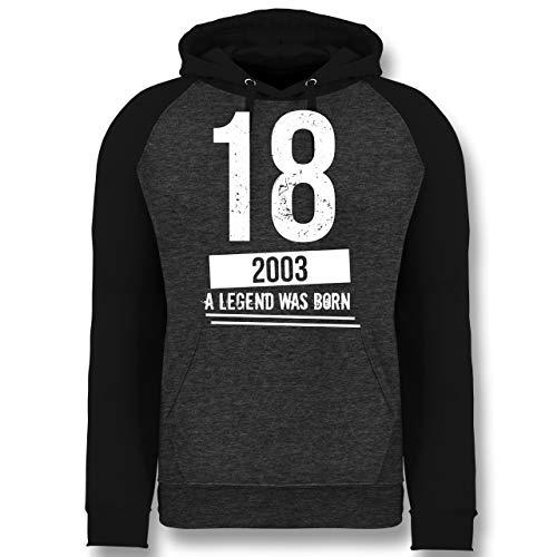Geburtstag - 18 Geburtstag Jungs 2003 - Vintage Motiv - XXL - Anthrazit meliert/Schwarz - t-Shirt 18 Geburtstag Junge - JH009 - Baseball Hoodie