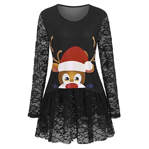 Femme Sweat-Shirt de Noël Épaule sans Bretelles Couleur Unie Manches Longues Dentelle Renne Noël Impression Sweat Asymétrique Sweat-Shirt Top Pull