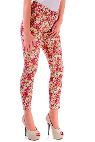 Mujer Pantalones Vaqueros Pitillo Skinny Estampados con Bolsillos - Leggins Mujer, Vestidos Vaqueros Mujer Verano Tamaño ES 38 (Medium) Multicolor Rosa Blanco (Pink White)