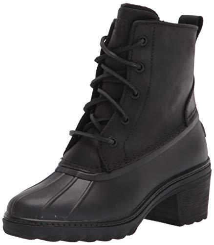Sperry womens Saltwater Heel Leather Rain Boot, Black, 5.5 US