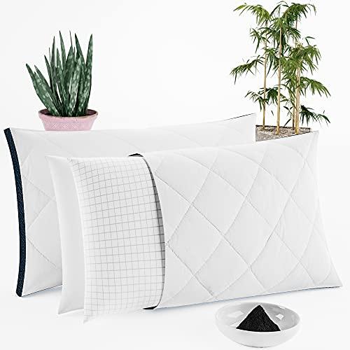 Juego de 2 almohadas de aloe vera, de bambú y de carbono de altura regulable, antiestrés, para dormir de lado, boca abajo, para dormir de espalda