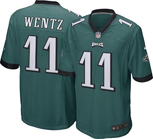 Nike Men's NFL Philadelphia Eagles Wentz Game Jersey Sport Teal/Black Size Medium