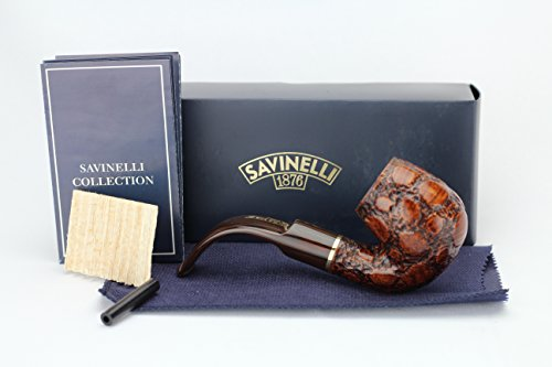 Savinelli Italian Tobacco Smoking Pipes, Alligator Brown Briar Pipe 614