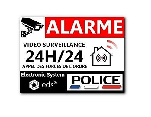Lot de 8 Autocollants Dissuasifs « Alarme Vidéo Surveillance » Anti cambriolage pour Maison Immeuble Commerce...