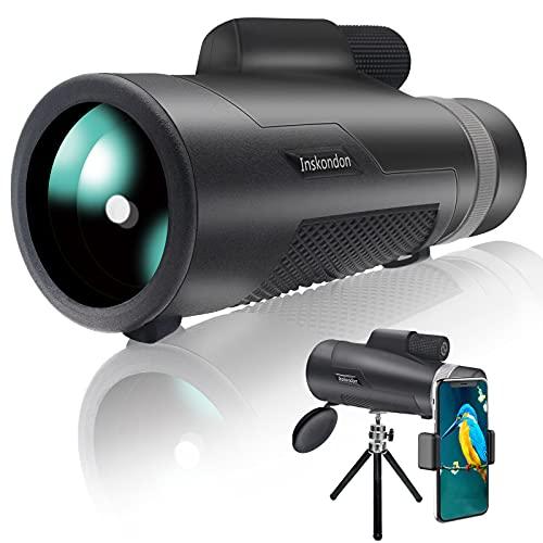 Inskondon Telescopio monocular 12x50 HD monocular Scope BAK-4 Prism FMC lente visión nocturna monocular con kit de Digiscoping binoculares compacto móvil telescopio