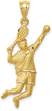 14k Yellow Gold Brushed Tennis Player Pendant Charm Necklace Sport Racquet Man Hobby Profession product image