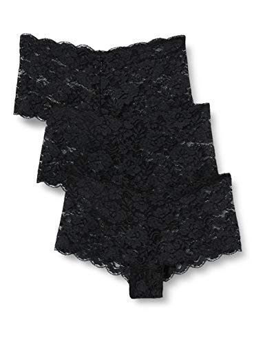 Amazon-Marke: Iris & Lilly Floral Lace Hipster, 3er Pack,, Schwarz (Black), M, Label: M