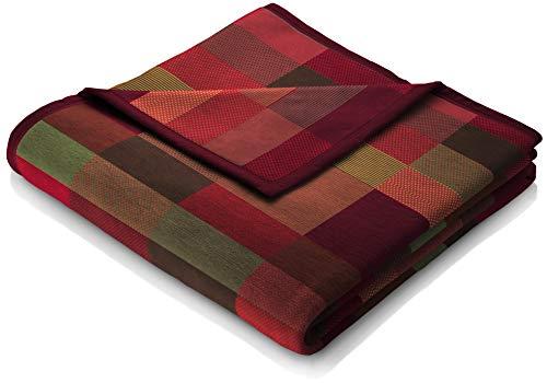 """biederlack® flauschig-weiche Kuschel-Decke aus Baumwolle & dralon® I Made in Germany I Öko-Tex I nachhaltig produziert I Wohn-Decke """"Color Squares Red"""" in dunkel-rot/grün I Sofa-Decke in 150x200cm"""