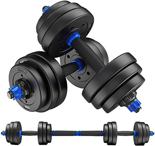 MOJEER ダンベル 可変式【最新進化版・3in1 ダブルナット】10kg 20kg 30kg 40kg 2個セット バーベルにもなる ダンベル 無臭素材 静音XK (10kg×2個セット/blue)
