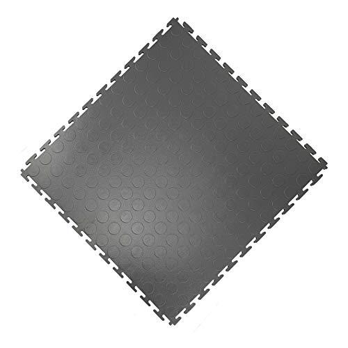 Vario24 PVC vloertegel 1 m2 (4 tegels), extreem belastbaar, vloerbedekking, garagevloeren, industriële vloeren, niet de lichtversie (noppen-donkergrijs)
