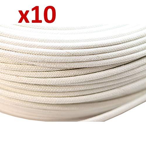 Ofen Hitze Feuerbeständig Hohe Tempertatur Geflochten Glasfaser Draht kabel 1.5mm - Weiß, 10 metre