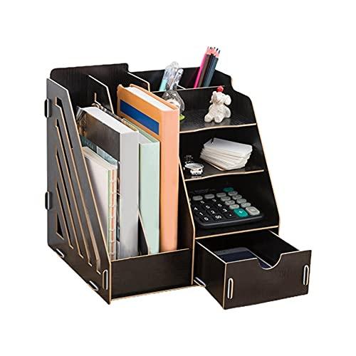 LYLY Organizador de escritorio multifuncional, organizador de escritorio para archivos, caja de almacenamiento de escritorio de madera, organizador de escritorio para el hogar y la oficina (color: BK)