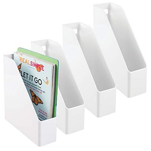 mDesign 4er-Set Archiv-Stehsammler in weiß - Zeitschriftensammler aus Kunststoff - Schreibtisch-Organizer für Zeitschriften, Magazine, Notizen & Co. - hochwertig & praktisch