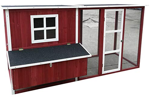 """ChickenCoopOutlet 87"""" Wood Backyard Chicken Coop Hen House 4-6 Chickens Nesting Box & Run New"""