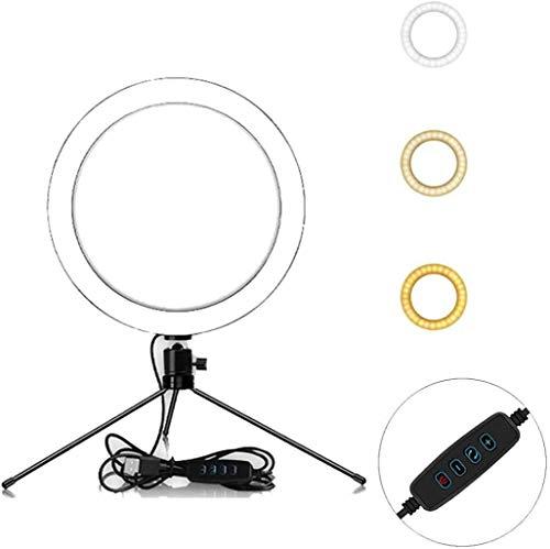 ZGQ 10in autofotos Anillo de luz con trípode y teléfono Holder 3...