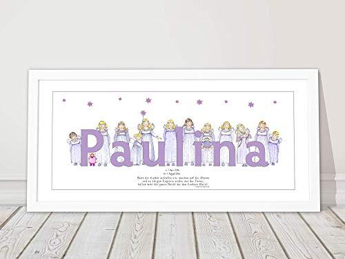 Taufgeschenk Baby, Mädchen Geburt, Namensbild, Kindergebet, personalisiertes Schutzengel Bild, Kinderzimmerbild 53 x 26 cm