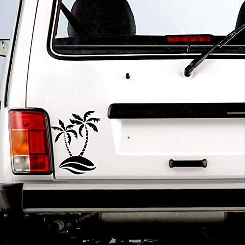 WYLYSD Car sticker 14.6cm*17.9cm Cartoon Love Beach Entertaining Tree Economical Vinyl Car Sticker Realistic Window Decal C18-0472 Black