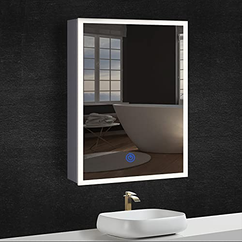 DICTAC Mueble de Baño con Espejo + Anillo LED + Enchufe, IP44, 3-Colore LED(3000-6500 K Brillo Regulable), Metal Cáscara, 50x13,5x72cm, Blanco, Fácil de Limpiar.