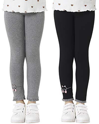 Adorel Leggings Algodón Pantalones Bordados Niñas Pack de 2 Negro & Gris Oscuro 5 Años (Tamaño del Fabricante 120)