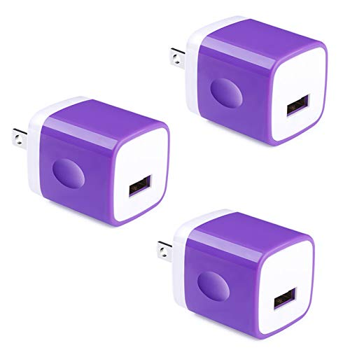 Single USB Wall Plug, UorMe 1A 5V 3 PC One Port USB Wall Charger Cube Adapter Universal Compatible with iPhone, iPad, Samsung Galaxy, LG, HTC, Huawei, Moto, MP3, Bluetooth Speaker Headset and More