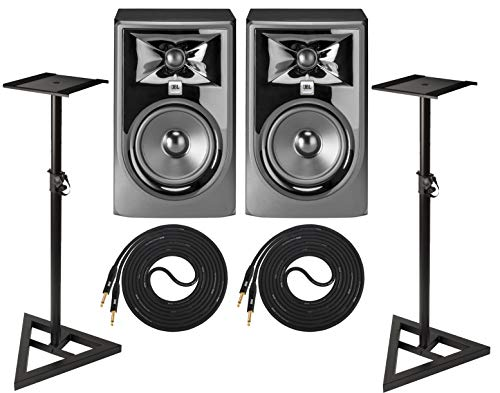"JBL 305P MkII Powered 5"" Two-Way Studio Monitor Pair with 2 Cable Set and Adjustable Stable Stands"