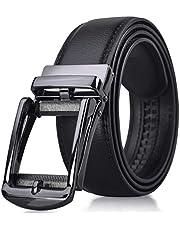 NEWHEY ベルト メンズ 革 ビジネス おおきいサイズ おしゃれ オートロック式バックル 穴なし 紳士 カジュアル カットフリータイプ 箱付き ブラック ブラウン 115cm 125cm