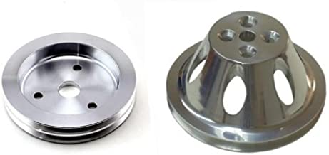 Polished Short Water Pump Pulley & For SBC Chevy Aluminum Crank Pulley Double 2 Groove