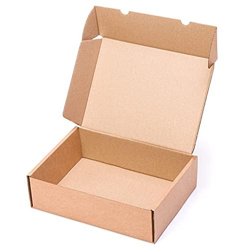 TeleCajas®   (25x) Caja de Cartón Postales Kraft   Cajas Automontables con Tapa para Almacenaje   Medidas: 35x25x10 cms   Lote de 25 uds