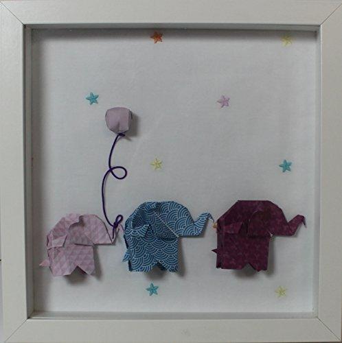 Cuadro decorativa de origami de elefantes