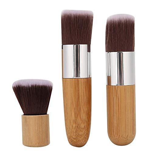 Pinceau cosmétique portable en fibre avec manche en bois pour fond de teint liquide et minéral pour poudre de sculpture, blush
