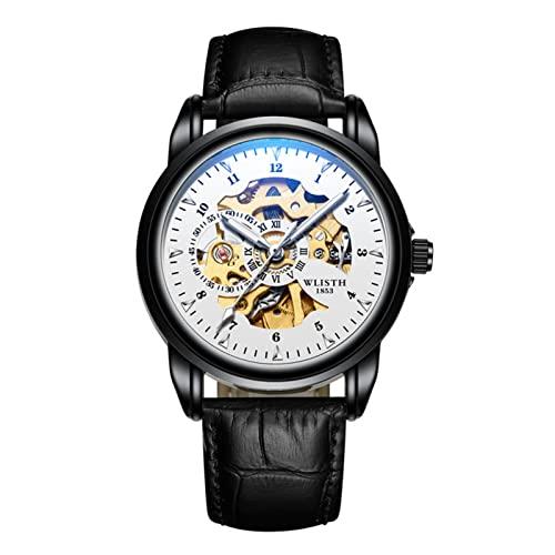 GDHJ Reloj de pulsera mecánico de negocios para hombre Perspectiva Hueco Casual Moda Correa de cuero Reloj Lujo Simple Ocio Impermeable Luminoso Relojes Blanco