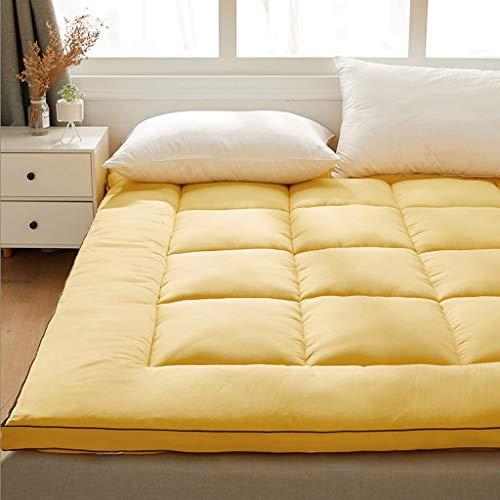 huan Engrosada colchón de 6 cm de Grueso colchón Plegable Tatami Dormitorio del Estudiante, Cama Doble Habitación con Dos Camas futón nicho de Estera for Dormir (Color : Amarillo, Size : 150X200cm)