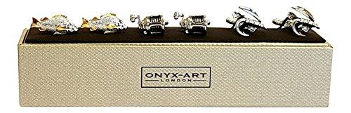 Onyx Art London Set 3Angeln Themen-Fisch Fliegenrolle Herren Schlepplift Manschettenknöpfe