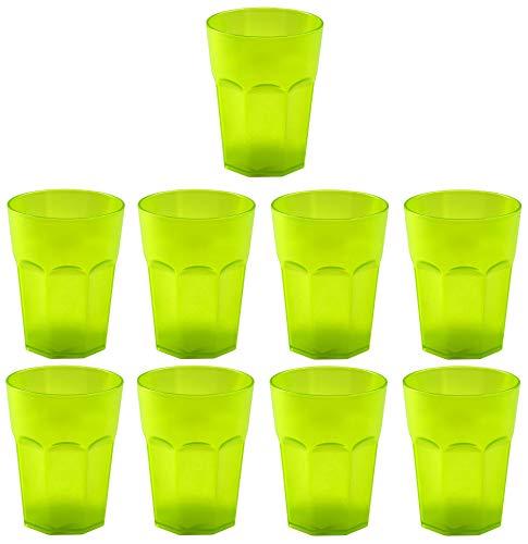 Design 9x Kunststoffbecher Becher Plastikbecher Trink-Gläser Mehrweg Fassungsvermögen 0,4l in der Farbe Grün
