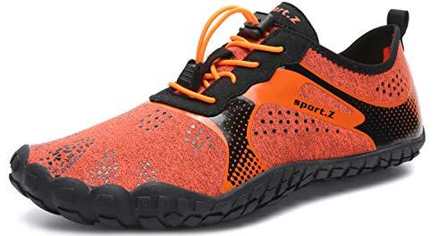 HMIYA Unisex Outdoor Fitnessschuhe Barfußschuhe Trekking Schuhe, Orange, Gr.- 45 EU