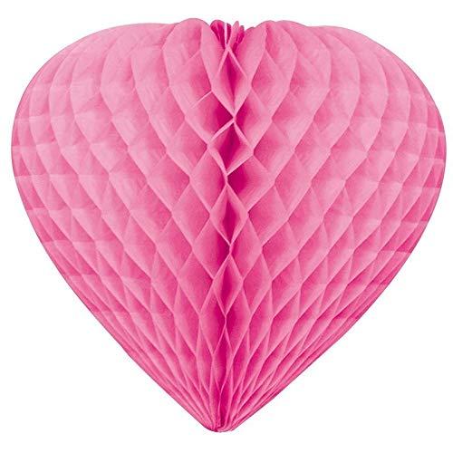 Grand Coeur bombé en alvéoles en Papier ignifugé Rose Fuchsia, de 30 cm de diamètre, à Suspendre