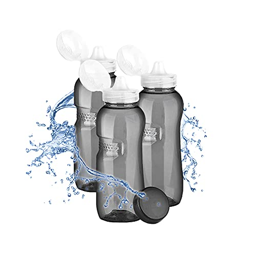 3 x Tritan Trinkflasche 0,5L + Sportdeckel / Kavodrink Wasserflasche schwarz Sportflasche BPA frei Flasche 500ml