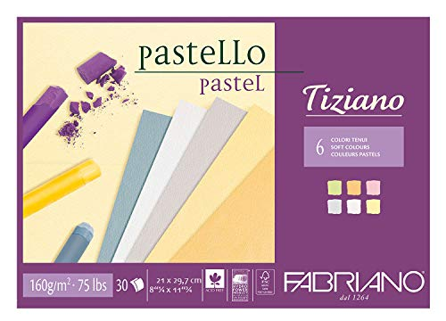 Honsell 46021297 - Fabriano Tiziano Block Pastelltöne, DIN A4, 30 Blatt, 160 g/m², hoch hadernhaltig, säurefrei und alterungsbeständig, griffige, raue Oberfläche