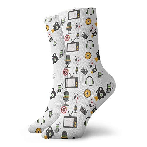 BJAMAJ Unisex Sokken TV Hoofdtelefoon Luidsprekers Interessant Polyester Crew Sokken Volwassene Sokken Katoen