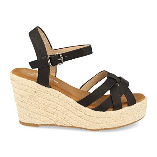 Sandalias de Mujer Ankle Strap con Cuna y Plataforma de Yute, Tiras Cruzadas Tipo Cangrejera en la Pala, Talon Abierto y Cierre de Hebilla. Primavera Verano 2020. Talla 38 Negro