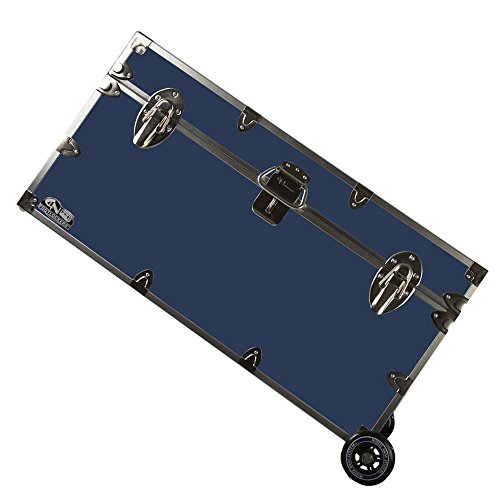 C&N Footlockers College Dorm Room & Summer Camp Lockable Trunk Footlocker with Wheels - Undergrad Trunk Available in 20 Colors - Large: 32 x 18 x 16.5 Inches (Navy)