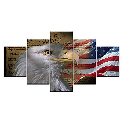 VGFGI 5 abstrakte Tieradler der amerikanischen amerikanischen Flagge für Wohnzimmerdekoration Leinwandmalerei HD druckt Wandplakat