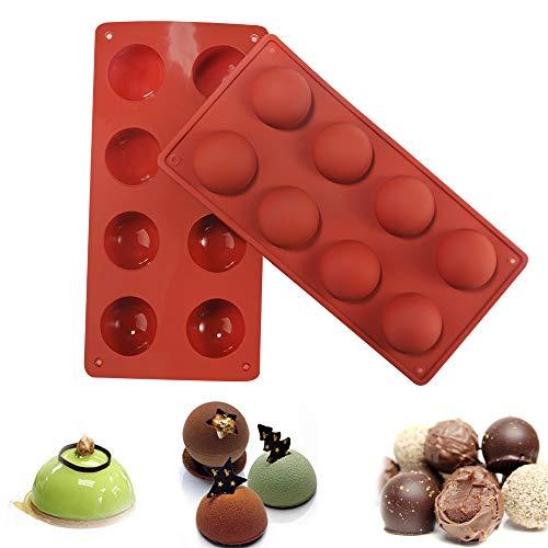Silikonform mit 8 Löchern für Schokolade, Kuchen, Gelee, Pudding, handgefertigte Seife, runde Form, Durchmesser: 4,6 cm, 2 Stück