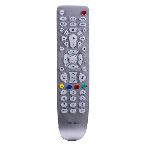 Philips Universal Remote Control, Backlit, for Samsung, Vizio, LG, Sony, Sharp, Roku, Apple TV, RCA, Panasonic, Smart TVs, Streaming Players, Blu-Ray, DVD, Simple Setup, 6 Device, Silver, SRP3016S/27