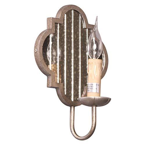 YLCJ Vintage industriële wandlamp, rustieke stijl, kaars, wandlamp met spiegel, decoratief design, binnenlamp, wandlamp, grijs, lamp van ijzer, voor slaapkamer, woonkamer, hal, cafés, hotel
