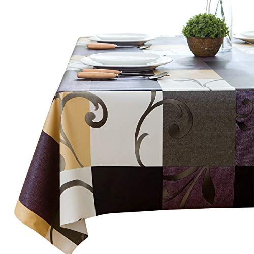 LEEVAN Heavy Weight Vinyl Rectangle Table Cover Wipe Clean PVC Tablecloth Oil-proof/Waterproof Stain-resistant- 54 x 54 Inch (Stylish Plaid)