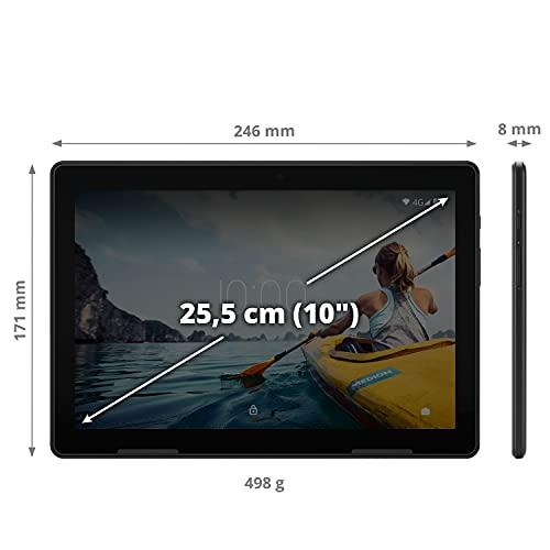 MEDION E10713 25,5 cm (10 Zoll) Full HD Tablet mit IPS Display (LTE, Android 10, Quad Core Prozessor, USB Typ C, 3GB RAM, 64GB Speicher, WLAN, Bluetooth, 5MP Kamera) schwarz